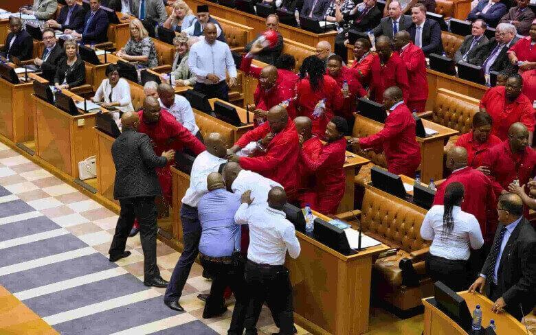 Tussle at South African Parliament