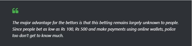 bets taking place stated